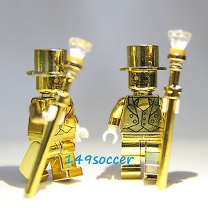2pcs SET Series 10 Custom Lego Mr Gold Mini Figures Super Hero Minifigures