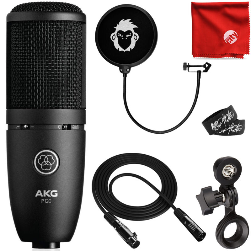 AKG P120 Cardioid Condenser General Purpose Recording Microphone Bundle