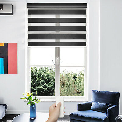 Motorized Zebra Sheer Window Blind Home Automated Day and Night Roller -