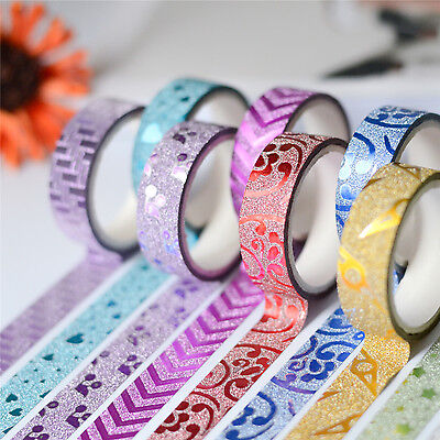 10 PCS Masking Tape Sticker DIY Self Adhesive Glitter Washi Craft Decor 15mmx3m