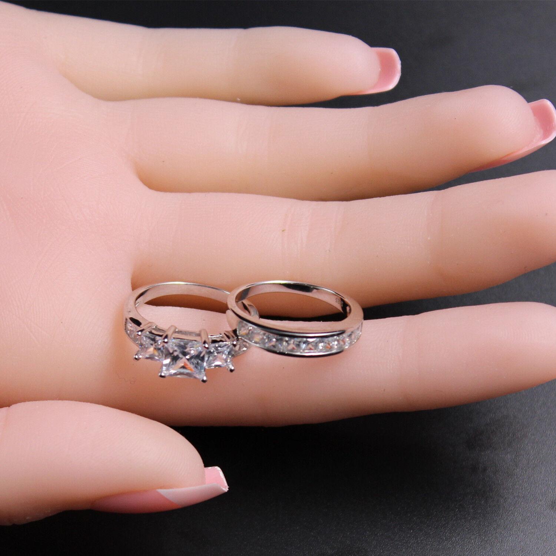 3.31CTTW PRINCESS CUT 925 Sterling Silver Wedding Women Ring Set ...