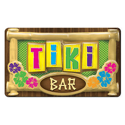 Tiki Bar Party Supplies (3-D Plastic Tiki Bar Sign 19