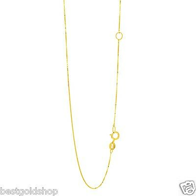 - Venetian Box Chain Necklace Real Solid 10K Yellow Gold Adjustable Links 17