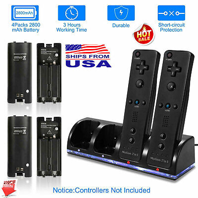 Charger+ 2/4Pack Rechargeable Battery & Game Controller for Nintendo Wii Remote