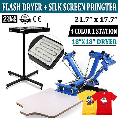 4 Color 1 Station Silk Screen Printing 18x18 Flash Dryer T-shirt Press Heating
