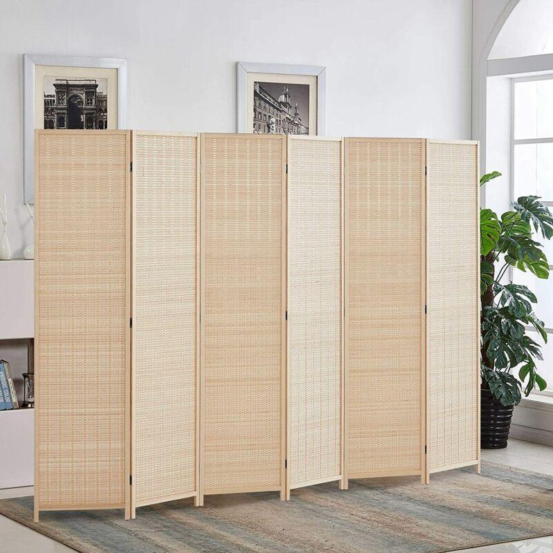 6 Panels Bamboo Room Divider 6 Ft Folding Privacy Screen Separator Freestanding