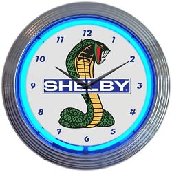 Shelby Cobra Ford Olp Mustang Car Garage Car Dealer Light Neon Clock 15 by 15