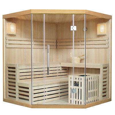 Saunakabine Sauna Ecksauna Traditionell Saunaofen Massivholz Espoo180 Artsauna®