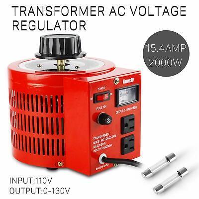 Variac Autotransformer Variable Ac Voltage Regulator Metered 2000w 20amp 110v