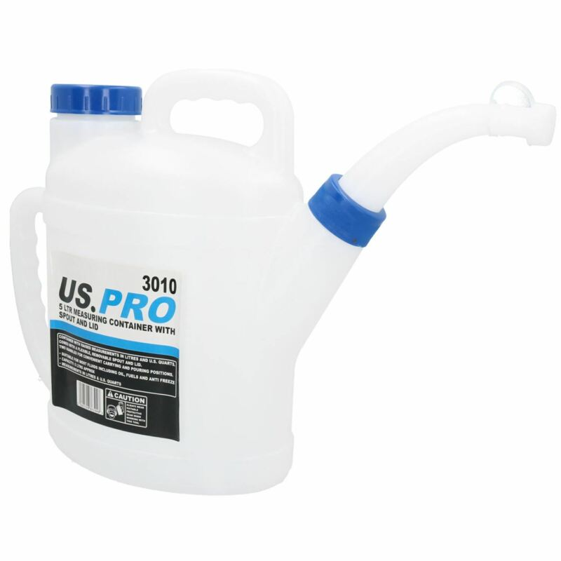 5 Litre Measuring Pouring Container With Flexible Spout + Lid Fuel Liquid Water