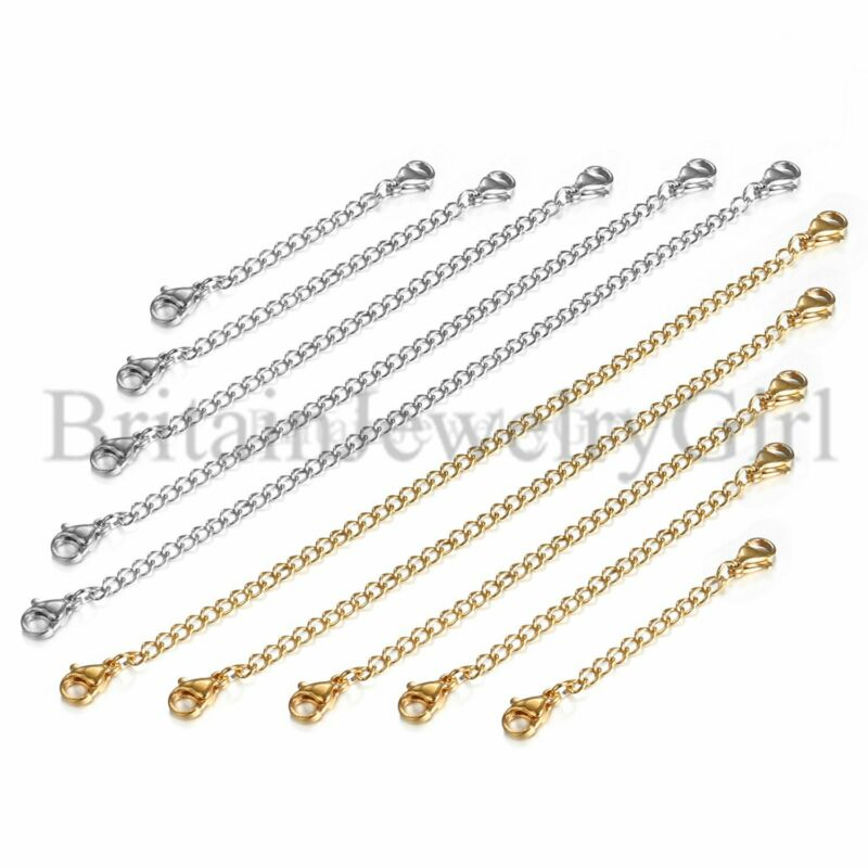 10pcs Stainless Steel Necklace Bracelet Extender Chain Extenders Silver/Gold