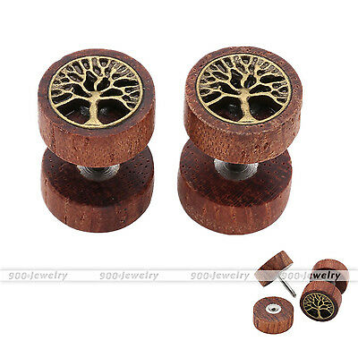Sono holz Fake Piercing Ohr Plug Flesh Tunnel Lebensbaum Ohrstecker Ohrring (Fake Baum)