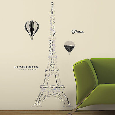 EIFFEL TOWER NEUTRAL WALL DECALS Giant Peel and Stick Stickers Room Decorations