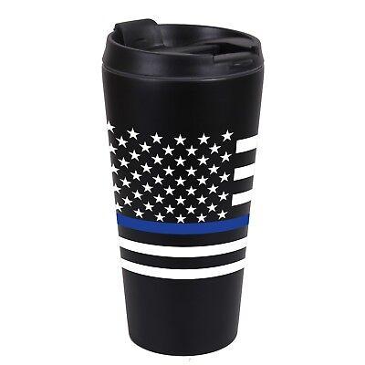 Rothco Thin Blue Line SS Black Travel Cup Mug 16oz Police Law Enforcement #1299 (16 Oz Cup)