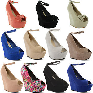 New-Ladies-High-Heel-Peep-Toe-Wedge-Platform-Ankle-Strap-Sandals-Size-UK-3-8
