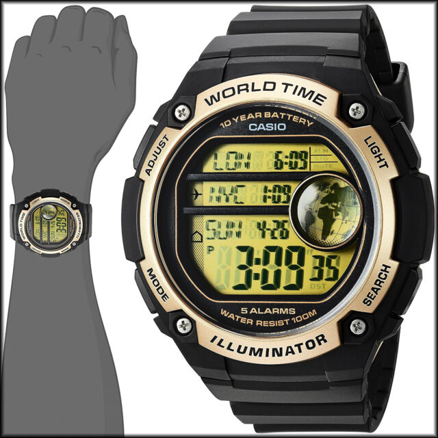 Casio black world time map 5 alarms 10 year battery watch ae 3000w casio black world time map 5 alarms 10 year battery watch ae 3000w 9av gumiabroncs Choice Image