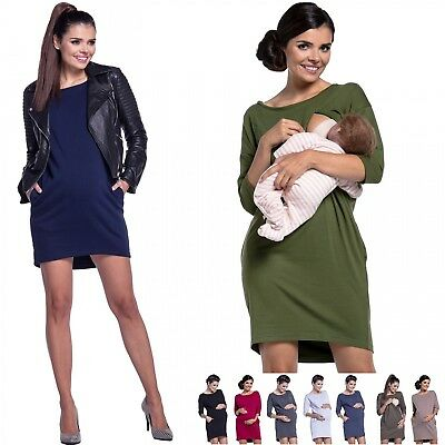 (Zeta Ville - Women's Maternity Nursing Sweat Dress Round Neck 3/4 Sleeves - 038c)