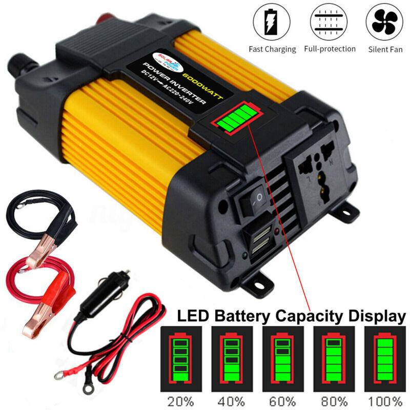 6000W Peaks Power 12V DC TO 110V 220V AC Car Power Inverter Solar Converter