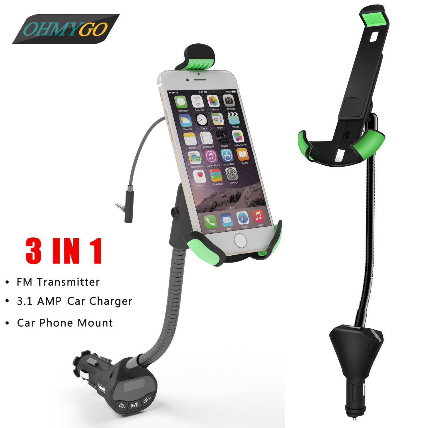 Smart Phone Car Charger /& Universal Mount Premium Series Car Charger /& Universal Mount for All Smartphones /& GPS Devices Travelocity
