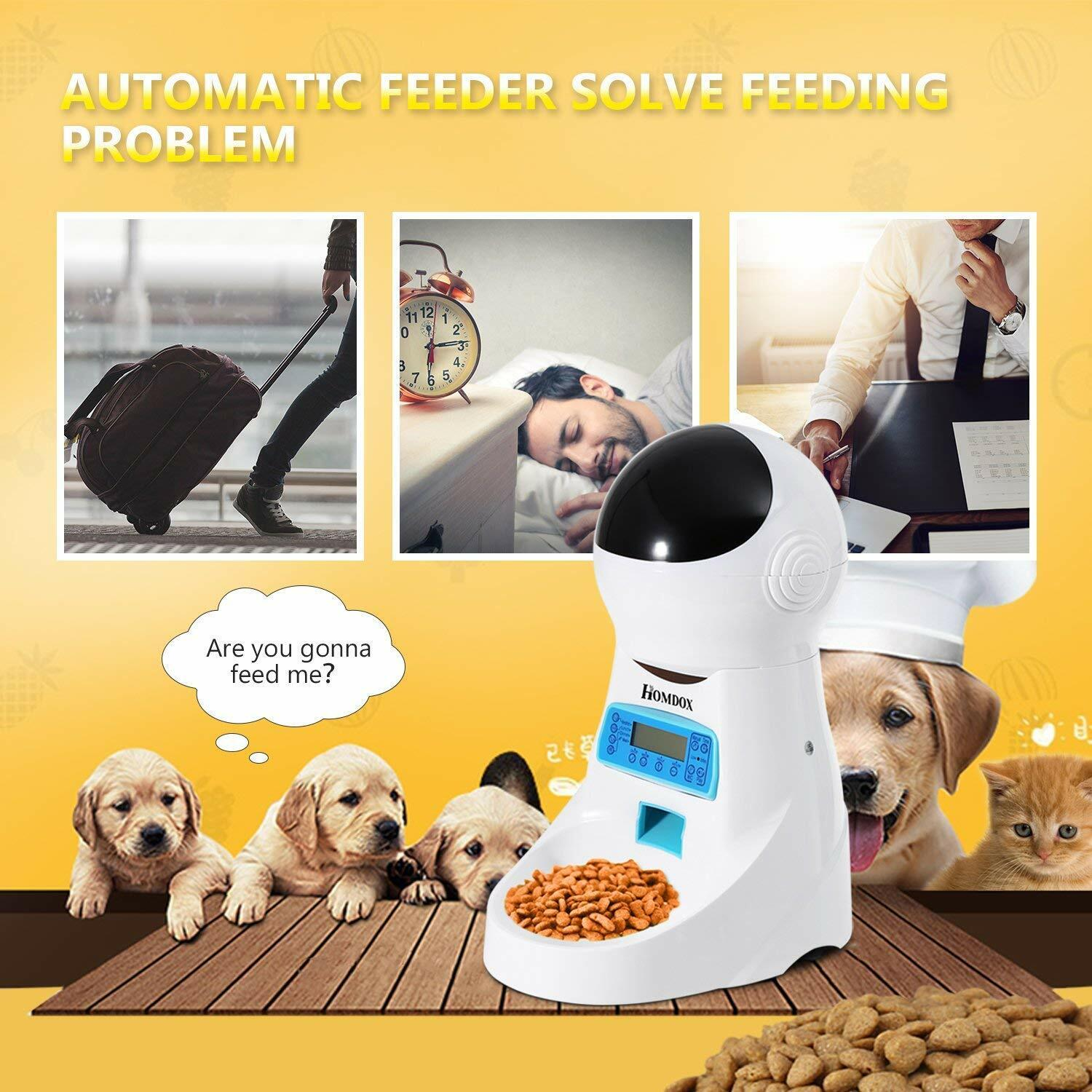 Automatic Cat Feeder Pet Food Dispenser for Cat Dog, Auto Cat Feeder with
