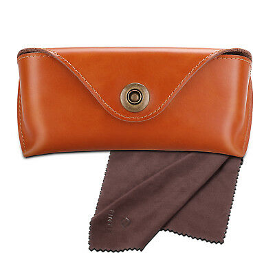 Leather Sunglasses Eyeglasses Glasses Case Eyewear Pouch Shell w/ cleaning (Sunglasses Leather Pouch)