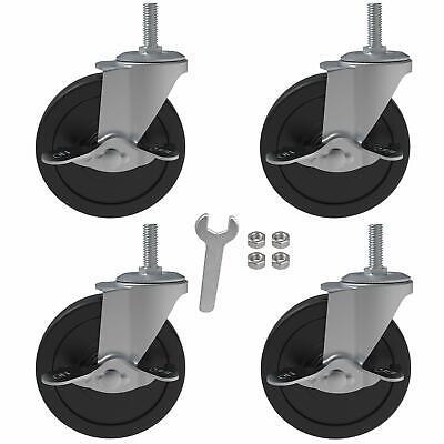 4x 4 Inch Brake Threaded Stem Casters 38-16x1 Swivel Rubber Caster Wheels