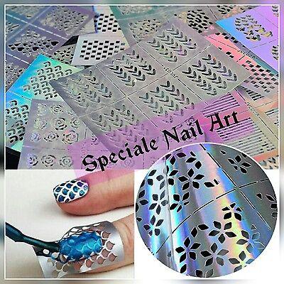 Griglie stencil adesivi stickers decorazione unghie nail water decals transfer