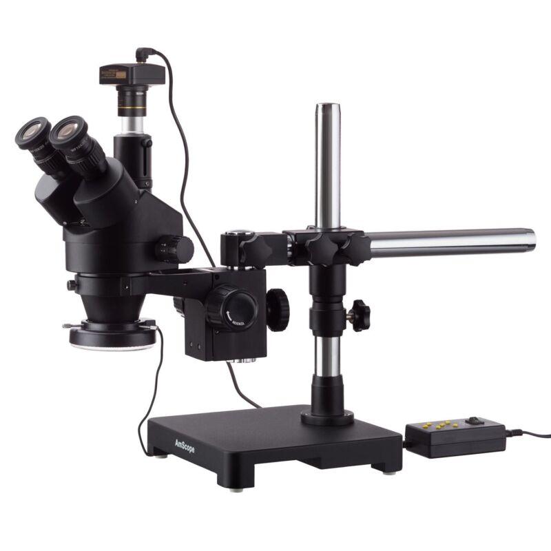 AmScope 7X-45X Trinocular Boom Stereo Zoom Microscope+5MP Camera +LED Ring Light
