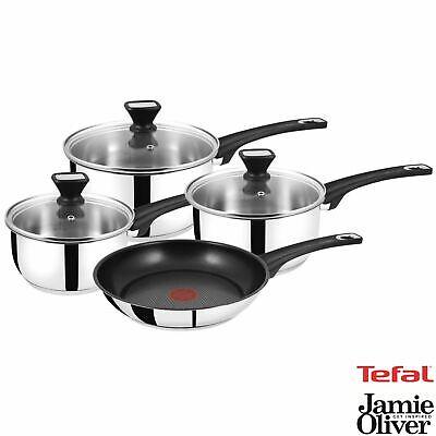 Tefal Jamie Oliver Stainless Steel 4 Pan Set Non-Stick Frying Pan Saucepans Lids