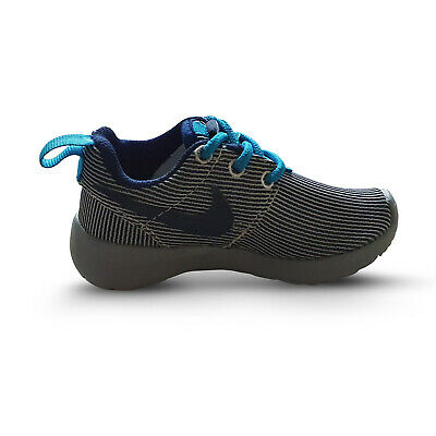 Nike Roshe Run Trainers Kids/Infant Footwear Grey/Navy with Blue laces