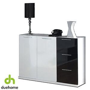 Aparador buffet mueble comedor salon blanco y negro for Mueble salon blanco brillo
