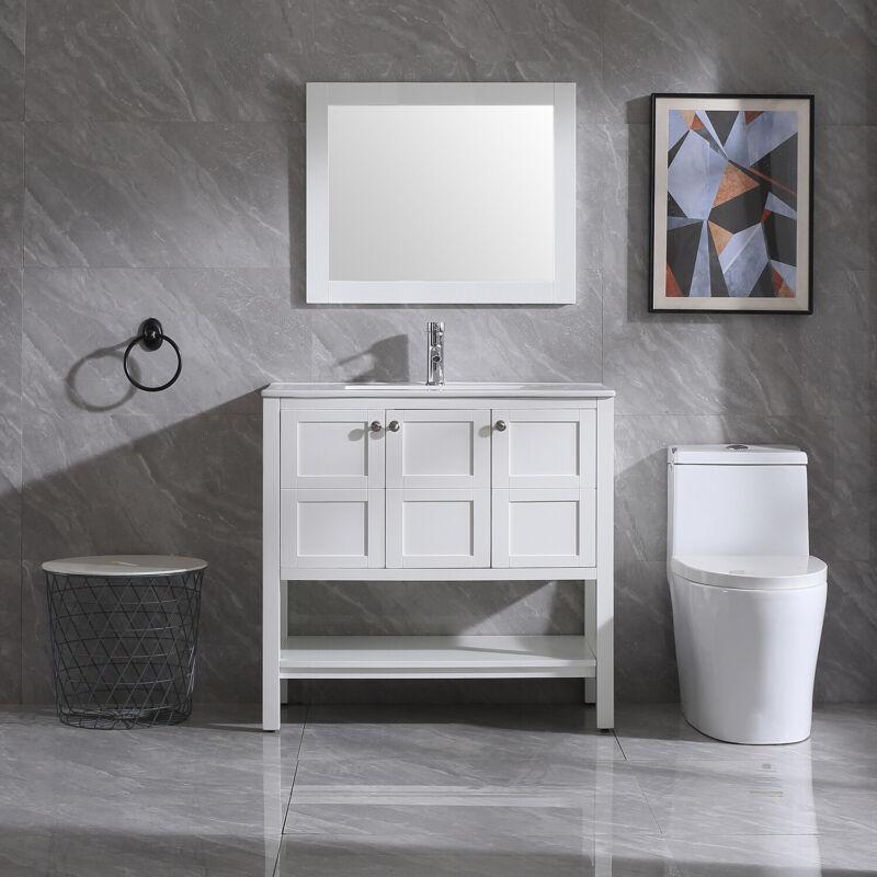 "36"" Modern Bathroom Vanity Set Cabinet Organizers Storage w/Mirror &Faucet Combo"