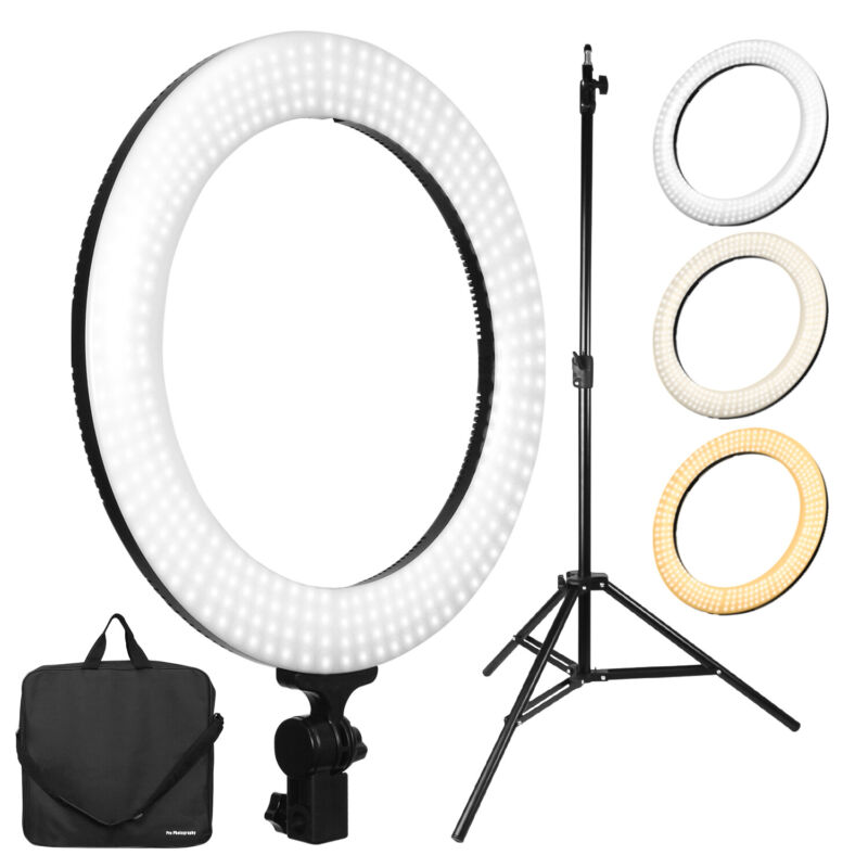 "Dimmable 18"" Ring Light Kit LED Dual Color for Vlog Video Live Stream Youtube"