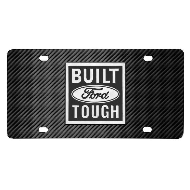 Ford Built Ford Tough 3D Logo Black Carbon Fiber Patten Steel License Plate