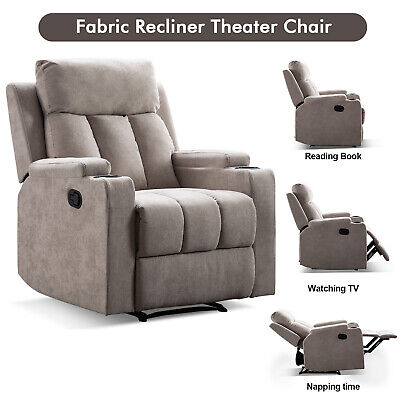 Modern Manual Recliner Chair Sofa Living Room Theater Seating w/2 Cup Holders