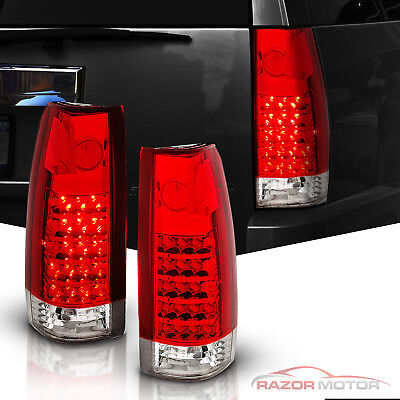 1988-1999 Red Clear LED Tail Light Set Chevy/GMC C10 C/K Silverado Tahoe Sierra