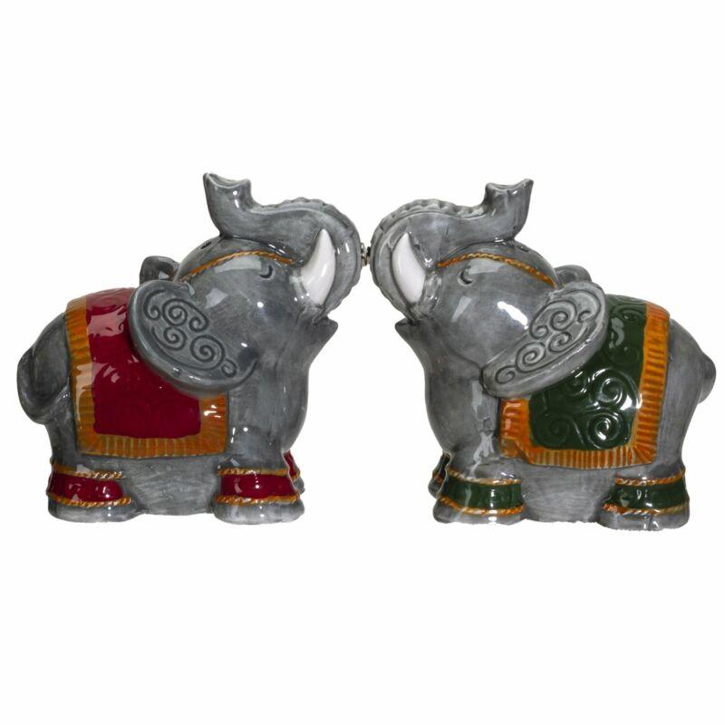 Raja Elephants Ceramic Salt and Pepper Shakers Set