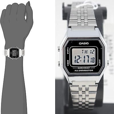 Casio LA680WA-1D Ladies Black Digitral Watch Silver Steel Band Retro Vintage