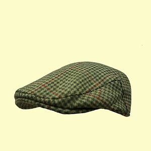 Tweed-Flat-Cap-100-Wool-Check-Cap-Country-Tweed-Farmer-Cap-Shooting-Cap-XS-XXL