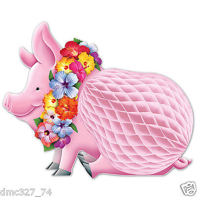 LUAU Tiki HAWAIIAN Party Decoration Honeycomb LUAU PIG Tissue CENTERPIECE 12inch