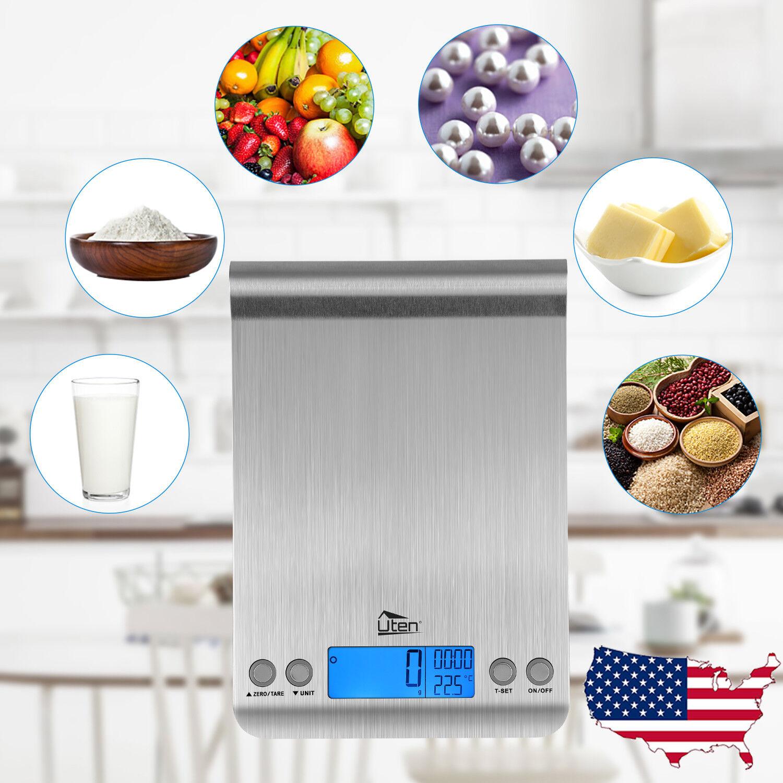 Digital Kitchen Scale Postal Food LCD Balance Timer Alarm Temp 5kg 1g 11lb 0.1oz