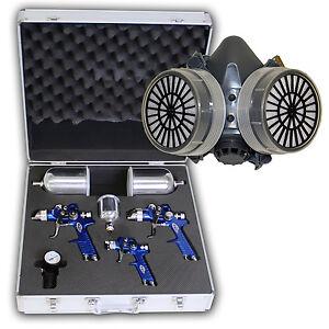 3x HVLP Lackierpistole Spritzpistole + Koffer + Lackiermaske 1,7 + 1,3 + 0,8mm