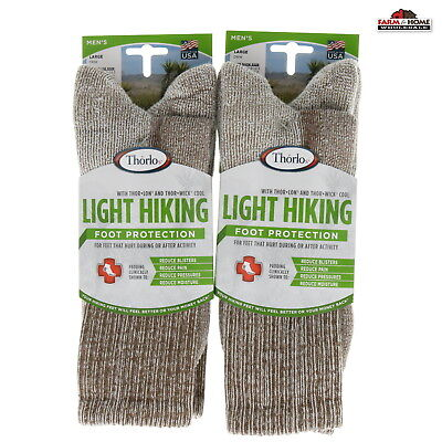 (2) Thorlo Mens Light Hiking Crew Socks Large ~ Walnut ~ NEW