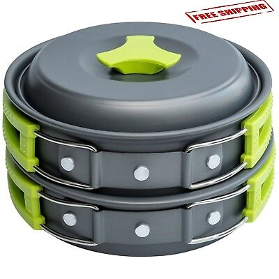 10 Pcs Camping Cookware Mess Kit Cookset Camp Cooking Kit Outdoor Gear Compact