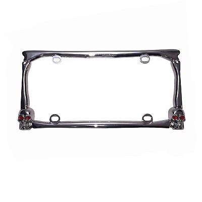 UNIVERSAL 3D SKULL  CHROME METAL CARS TRUCK AUTO LICENSE PLATE FRAME TOP QUALITY