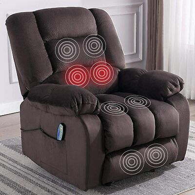 Massage Recliner Chair With Heat And Vibration Soft Fabric Lounge Chair Seating