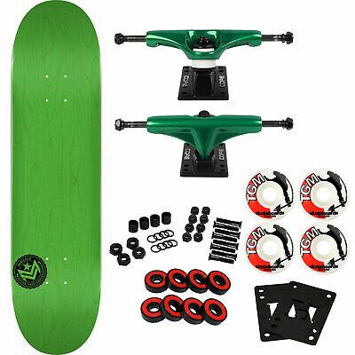 "Powell Mini Logo Skateboard Complete Chevron 12 K12 Green 7.75"" Green Trucks"