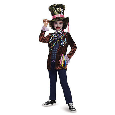 Alice In Wonderland Childrens Costumes (*NEW* Alice in Wonderland Mad Hatter Deluxe Child Costume, Disguise Size)