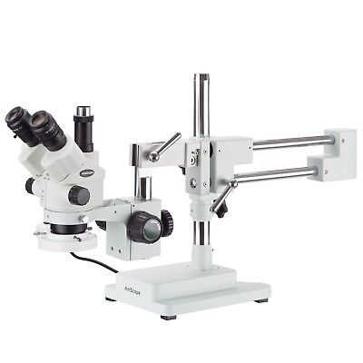 3.5x-180x Simul-focal Stereo Boom Stand Microscope Fluorescent Light