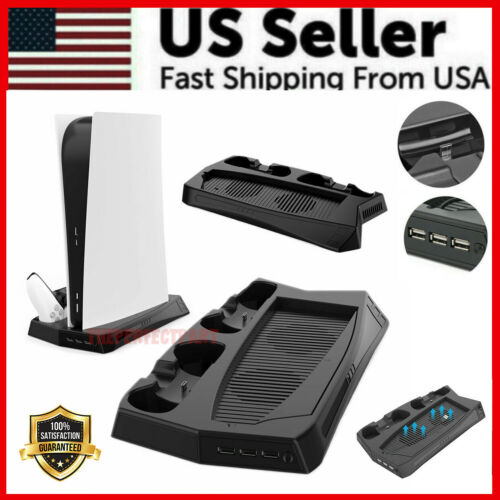 For PS5 Dual Controller Charger Stand w/ Cooling Fan Digital & Standard Consoles